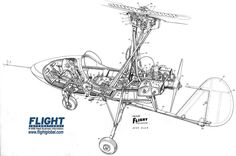 Hahnemuhle PHOTO RAG Fine Art Paper (other products available) - Wallis Auto-gyro Cutaway Drawing - Image supplied by FlightGlobal - Fine Art Print on Paper made in the UK Fine Art Prints, Framed Prints, Canvas Prints, Drawing Frames, Aviation Art, Wallis, Cutaway, A4 Poster, Poster Size Prints