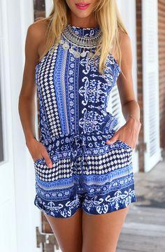 Blue Open Back Vintage Print Jumpsuit 13.17