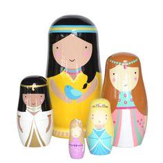 NEW * Wooden Princess nesting dolls - Sketch Inc
