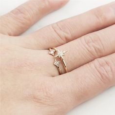 Make a wish everyday because you have a shooting star on your finger. The Starburst Diamond Ring features .04ctw diamonds, available in 14k or 18k solid gold. :: Style name: sb-r101 :: Star size: 7.5