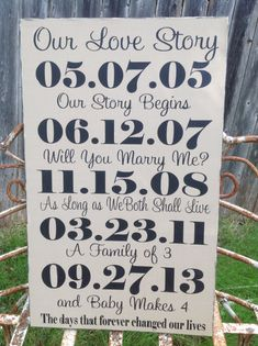 Important Dates Wood Sign - Family Date Sign, 5 Dates,  5th Anniversary Gift, Wedding Gift, - Special Dates Important Dates