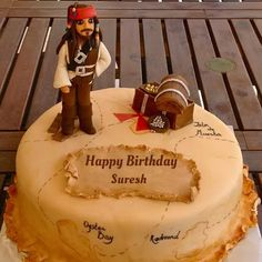 Pirates Of The Caribbean Movie Birthday Cake With Name