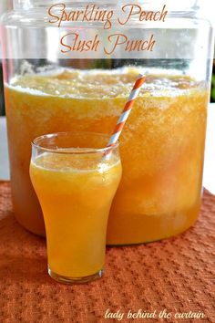 sparkling peach slush punch water sugar peach flavor jello peach slices in light syrup peach juice blend lemon juice ginger ale champagne optional Refreshing Drinks, Summer Drinks, Fun Drinks, Healthy Drinks, Cold Drinks, Mixed Drinks, Healthy Food, Healthy Recipes, Nutrition Drinks