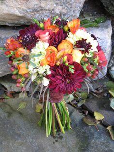 fall bridal bouquet by floralartvt.com