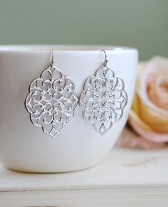 Large Silver Filigree Earrings. Boho Chic Moroccan Bohemian Silver Filigree Dangle Earrings