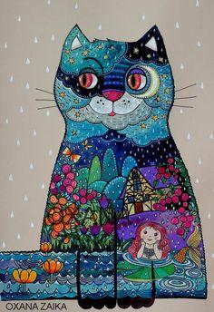 Night cat - Peinture,  29x42 cm ©2016 par Oxana Zaika -                                                            Art nouveau, Papier, Chats, chat, chats, nuit