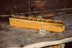 by Tapio Wirkkala Cover of the box slides on bottom to raise the glasses, you can see the wooden cover slide peeking from the right end. Shot Glasses, Box, Design, Snare Drum, Shot Glass