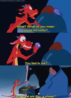 LOL, That's funny Mushu, Mulan is one of my favorite disney movies. Disney Pixar, Walt Disney, Disney Amor, Disney And Dreamworks, Disney Love, Disney Magic, Disney Stuff, Sassy Disney, Punk Disney