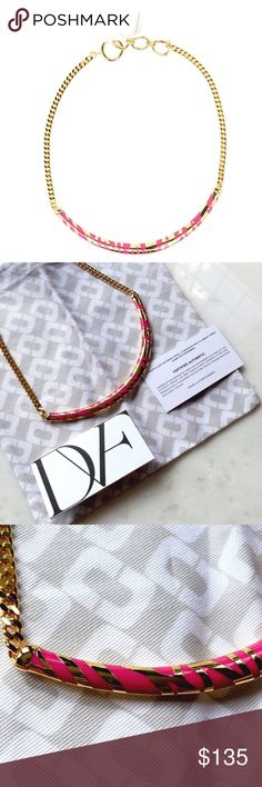 | new | DVF Twig Collar Chain Necklace 💲BUNDLE & SAVE 30%💲Color is called Rose-Quart, gold plated & resin twig designed curved bar collar necklace, 18in(L) spring ring clasp closure. Diane Von Furstenberg Jewelry Necklaces