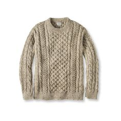 Heritage Sweater, Irish Fisherman's Crewneck dark oatmeal