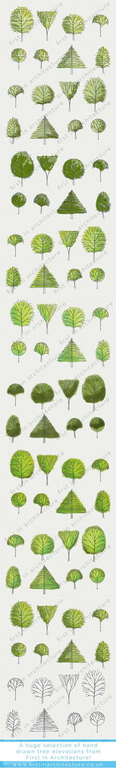 Sketchy Tree Elevations to download in PSD and JPEG, blend layers to create over 80 types of trees... via @1starchitecture. landscape architecture, tree sketches, tree drawings, tree downloads