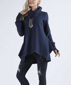 Look what I found on #zulily! Navy Cable-Knit Cowl Neck Tunic - Plus Too #zulilyfinds