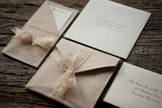 Linen and lace wedding invites.  #sewpretty