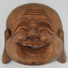 Carved Laughing Buddha Mask