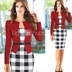 Women's Vintage Plaid Bateau Fake Two Check Patchwork Sheath Sleeve Dress - USD $14.99