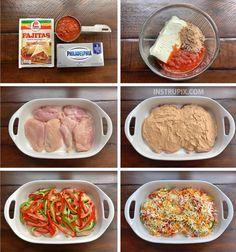 Cheesy Fajita Baked Chicken - Instrupix recipes chicken recipes crockpot recipes easy recipes for dinner recipes healthy food recipes One Pan Dinner Recipes, Cooking Recipes, Healthy Recipes, Crockpot Recipes, Baked Chicken Recipes, Chicken Fajita Recipe, Salsa Chicken, Arbonne, Fajitas