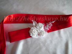 Piros szatén menyasszonyi öv rózsákkal és csipkével Napkin Rings, Napkin Holders