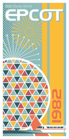 12in x 24in Giclee print. Illustrated design depicting Epcot of Walt Disney World. Original art created using Adobe Illustrator. Printed on