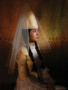 Kazakh woman in traditional wedding dress - by David Honl