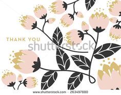 Thank you note card. One type of blossoming flower with leafs.
