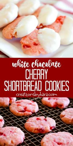 White Chocolate Cherry Shortbread Cookies - buttery cookies filled with chunks of juicy cherries and white chocolate, dipped in more white chocolate. A perfect holiday cookie! Chocolate Cherry, Chocolate Dipped, White Chocolate, Köstliche Desserts, Delicious Desserts, Dessert Recipes, Plated Desserts, Cake Recipes, Buttery Cookies