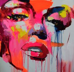 """Untitled 824"" - Françoise Nielly, oil on canvas, 2014 {contemporary #expressionist art female head woman face portrait painting drips} francoise-nielly.com"