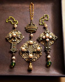 Jeweled cross ornaments