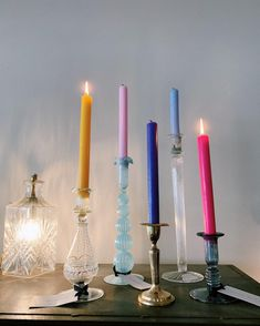 Glass candle sticks are our favourites💚 PS These coloured candles are available in our Herengracht- and Gerard Dou stores (and yes, we're open today! Vintage Candle Holders, Vintage Candles, Glass Candle Holders, Candlestick Holders, Candle Sticks, Bedroom Candles, Glass Candlesticks, Candleholders, Candle Shop