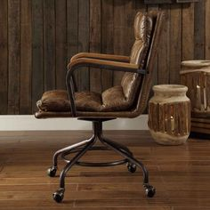Soft leather upholstery gives the Acme Furniture Hedia Top Grain Leather Computer Task Chair a luxurious look and feel that's suitable for any office. Hanging Chair From Ceiling, Metal Chairs, Desk Chairs, Leather Chairs, Farmhouse Dining Chairs, Oversized Chair And Ottoman, Executive Office Chairs, Acme Furniture, Antique Chairs