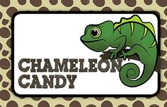 "Critter Birthday Party Snack Bar Sign - Used Darkside Skittles as the ""Chameleon Candy"""