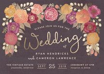 Autumn Florals Foil-Pressed Wedding Invitations... | Minted