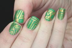 Revlon Posh Green and Gold Art Deco nails with OPI Goldeneye (1)