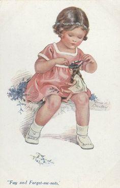 Vintage postcard by illustrator Nina K. Brisley (British, 1898-1978) Fay and Forget-me-nots.