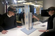 A composite image demonstrating how Perkins+Will is utilizing Microsoft HoloLens to interact with building models in mixed reality.