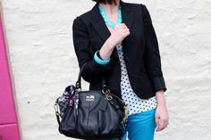 LOFT blazer; Gap polka dot tank; Gap turquoise skinny jeans; Coach bag