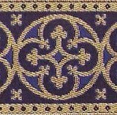 Wide, Traditional, Metallic, Jacquard Trim. Royal Blue picclick.com