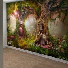 Wallpaper Self Adhesive Vinyl Magical forest NurseryMagic Enchanted Forest Bedroom, Fairytale Bedroom, Fairy Bedroom, Fairy Nursery Theme, Baby Girl Nursery Themes, Large Wall Murals, Removable Wall Murals, Fairy Wallpaper, Vinyl Wallpaper