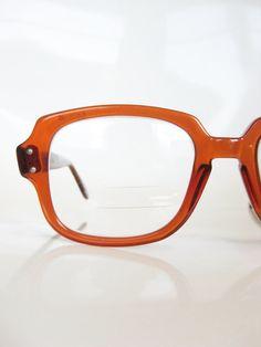 Vintage MAD MEN 1950s Glasses Eyeglasses COFFEE Brown Optical Frames Indie Military Hipster Indie Boxy