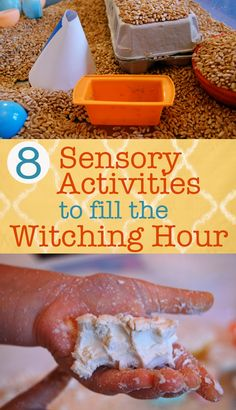 8 Sensory Activities to fill the Witching Hour -We've done (and loved) most of these, but I hadn't thought of paper+water! :)