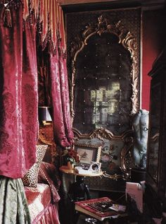 Another ornate bedroom; notice the rich damask bed and pieced mirror  (1) From: Interior Alchemy, please visit
