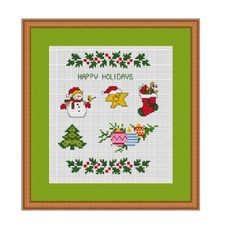 Festive Tree Pots Candles Poinsettia Roses Christmas Cross Stitch Chart XX
