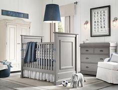 light grey and navy blue baby boy nursery