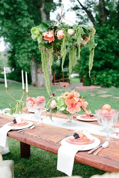 Lace and Lilies - Farmette, Peach Wedding, Garland chandelier
