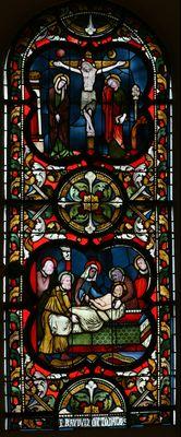 Maria en Johannes onder het kruis. Graflegging -- by Atelier Frans Nicolas, ca. 1875 -- Servatius Basiliek, Maastricht, NL