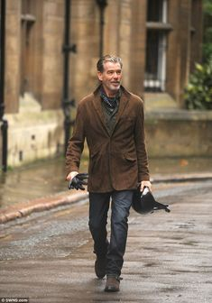 Pierce Brosnan on the set of his latest film. He plays a Cambridge professor in the film and his outfit is perfection.