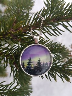Necklace with my photography of the northern lights. Taken by me at Balsfjord, Norway. Star Photography, Nature Photography, Holidays In Norway, Types Of Rings, Yellow Flowers, Handmade Necklaces, Northern Lights, Christmas Bulbs, Jewelry Making