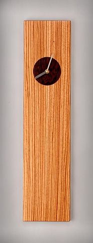 Zebra wood wall clock handmade by Kyle Dallman
