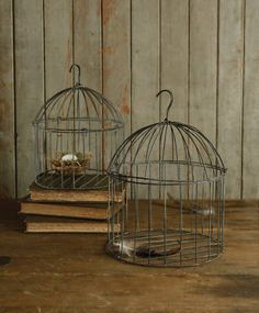 Set/2 Rustic Chic Wire Bird Cages Hanging Lanterns Candle Holders Centerpiece