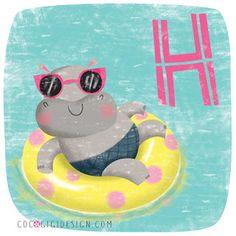 Hippo having fun © Gina Maldonado 2015 cocogigidesign.com #hippo #illustration #cute