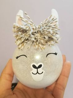 This handmade will be the perfect gift for all the llama fans! Made with a glass-like clear plastic ornament, so they really look like glass but they are shatter proof plastic, so if it falls off your tree it wont be a big deal at all! Christmas Ornament Crafts, Diy Christmas Gifts, Christmas Projects, Handmade Christmas, Christmas Fun, Holiday Crafts, Christmas Decorations, Glitter Ornaments, Christmas Baubles To Make